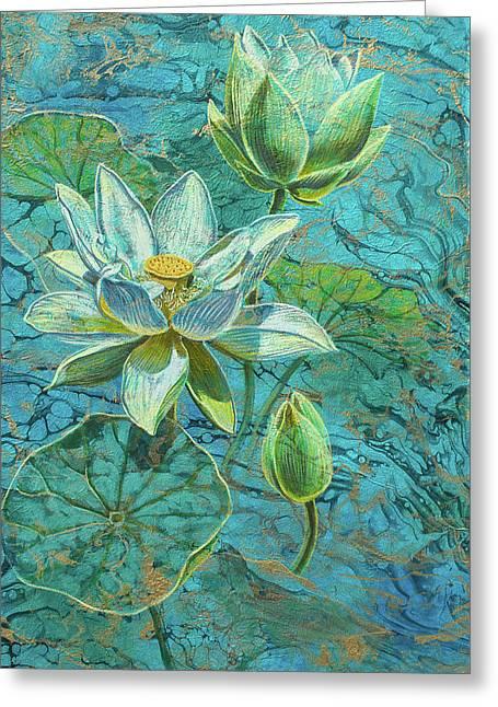 White Lotuses On Marbled Lake Greeting Card