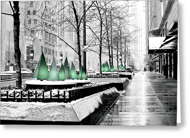 White Mag Mile Christmas Greeting Card by Laura Kinker