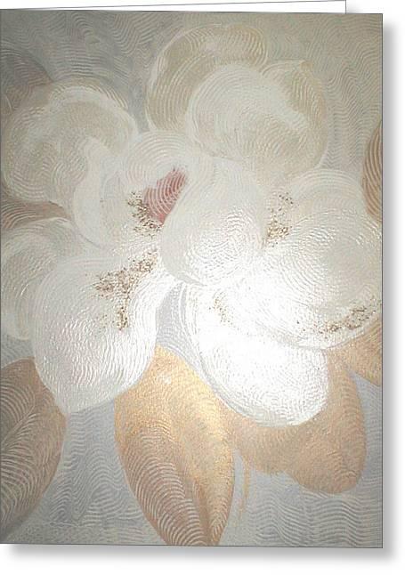 White Magnolia Greeting Card by Marja Koskinen-Talavera