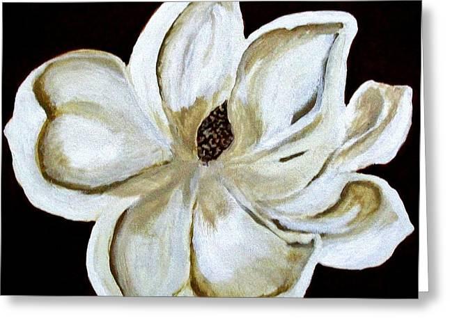White Magnolia On Black Greeting Card by Marsha Heiken