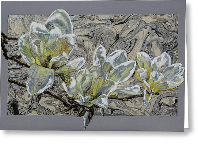 White Magnolias On Marbled Paper Greeting Card