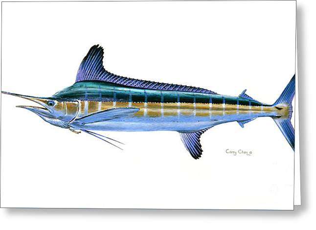 White Marlin Greeting Card by Carey Chen