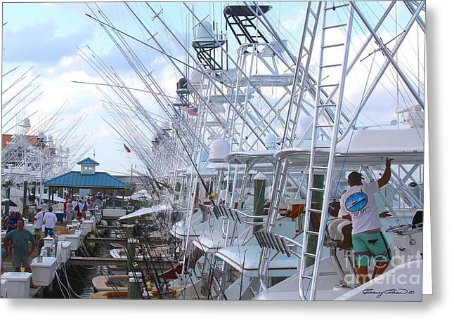 White Marlin Open Docks Greeting Card by Carey Chen