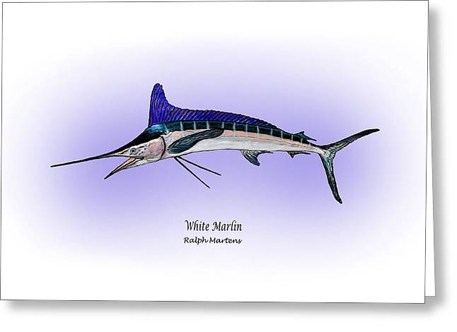 White Drawings Greeting Cards - White Marlin Greeting Card by Ralph Martens