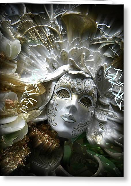 White Masked Celebration Greeting Card by Amanda Eberly-Kudamik