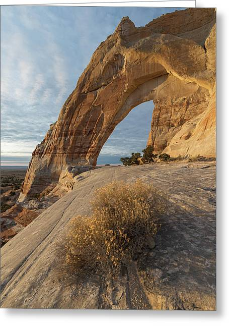 Greeting Card featuring the photograph White Mesa Arch by Dustin LeFevre