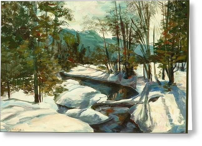 White Mountain Winter Creek Greeting Card