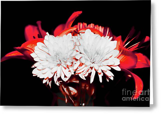 White Mums And Red Lilies Greeting Card