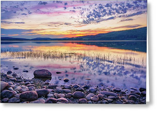 White Night Sunset On A Swedish Lake Greeting Card