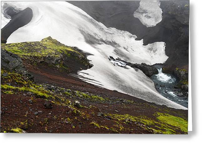 White On Black In The Icelandic Highlands Greeting Card