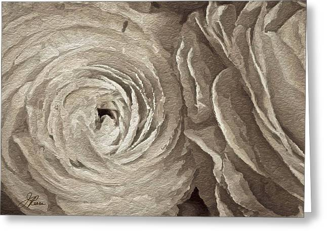 Greeting Card featuring the painting White On White Rose by Joan Reese