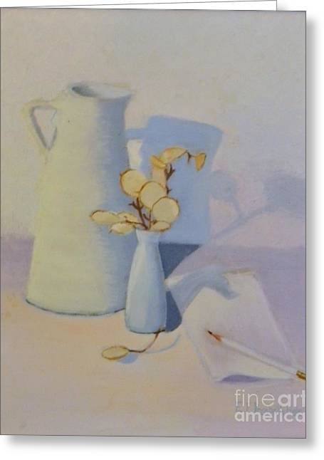 White On White Still Life Greeting Card by Emily Michaud