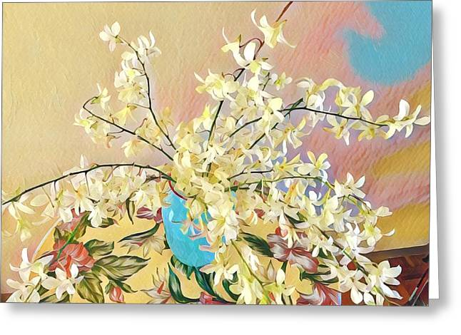 White Orchid Bouquet Pink/blue Greeting Card