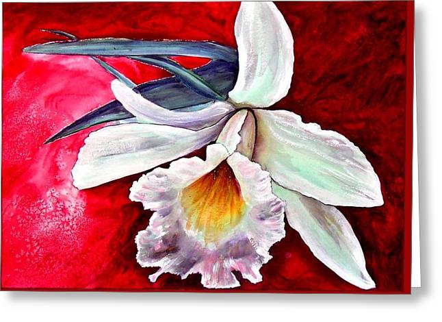 White Orchid Greeting Card
