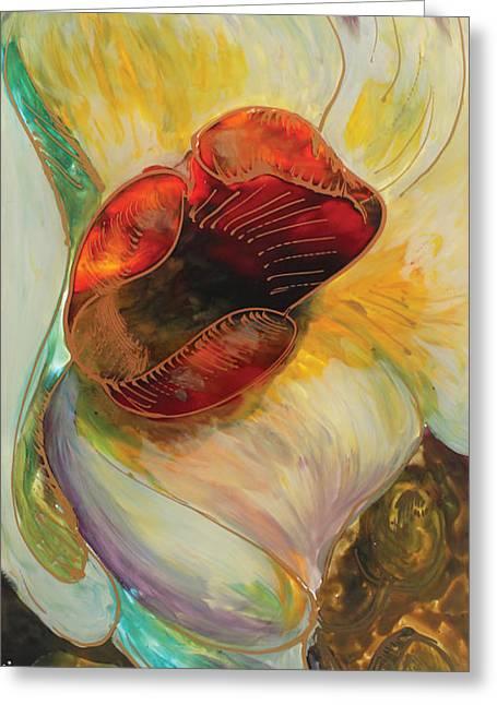 White Orchid Greeting Card by Vali Irina Ciobanu