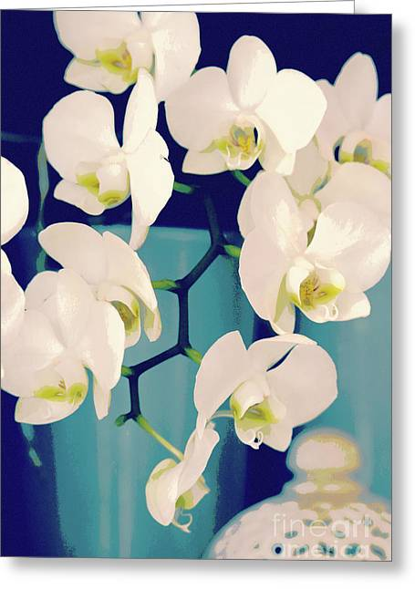 White Orchids In Turquoise Vase Greeting Card