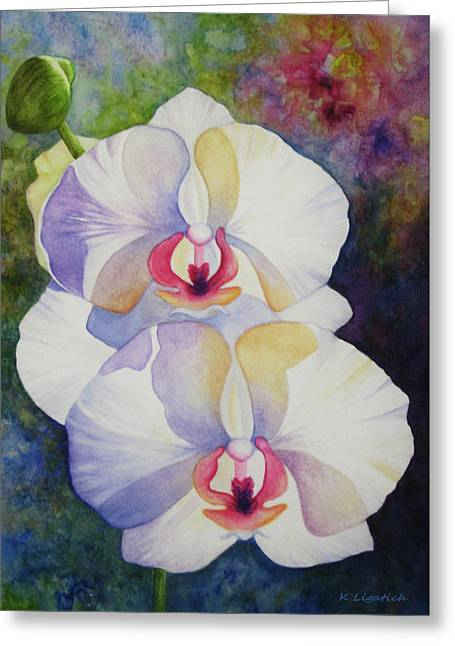 White Orchids Greeting Card by Kerri Ligatich