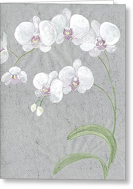 White Orchids On Sprigs  Greeting Card by Marja Koskinen-Talavera