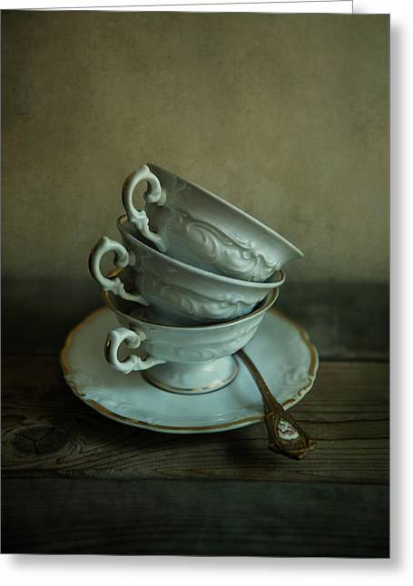 White Ornamented Teacups Greeting Card