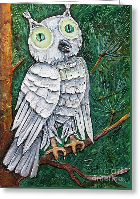 White Owl With Green Eyes Greeting Card