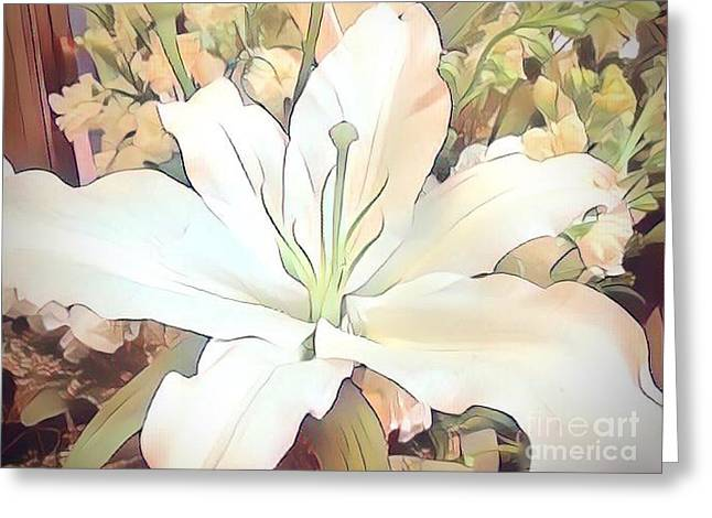 White Painted Lily Greeting Card