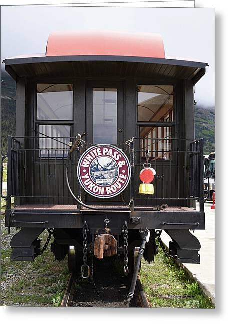 White Pass Train Caboose Greeting Card by Barbara Snyder