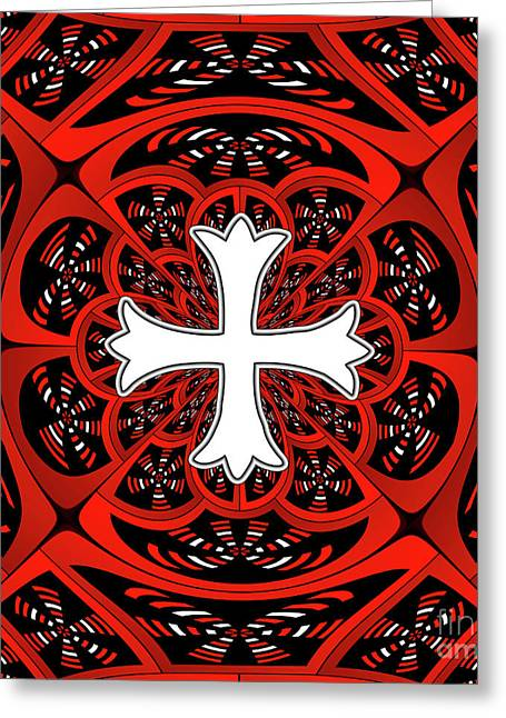 White Patonce Cross Greeting Card