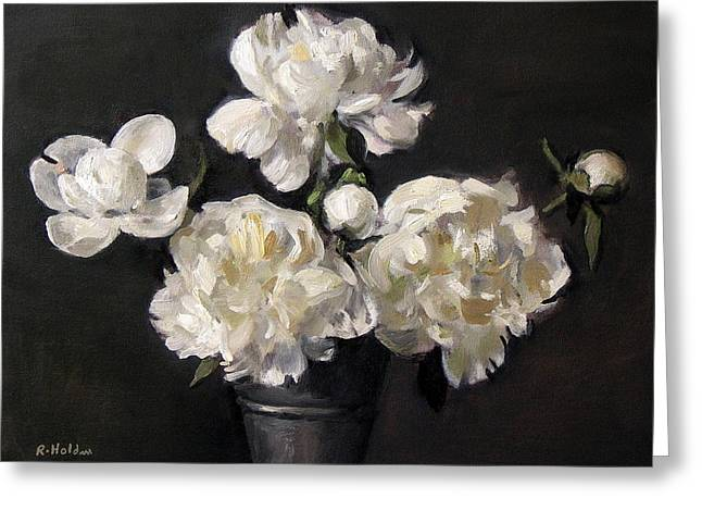White Peonies Alone Greeting Card