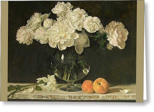 White Peonies In Giant Snifter With Peaches Greeting Card