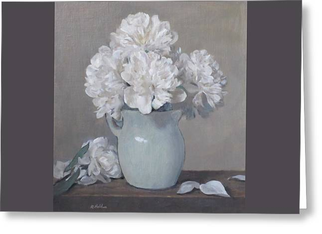 Gray Day For White Peonies Greeting Card