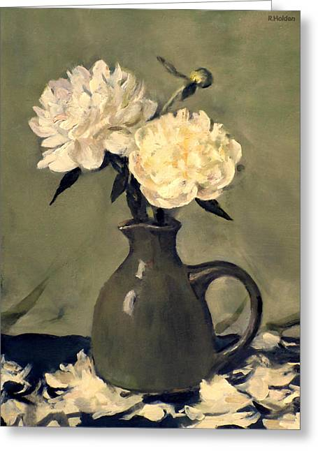 White Peonies In Small Green Pitcher Greeting Card