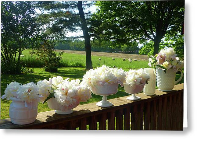 White Peonies On Milk Glass Greeting Card