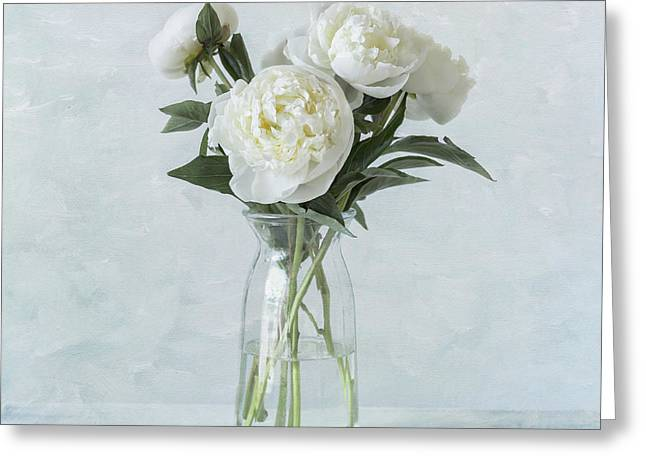 White Peony Bouquet Greeting Card