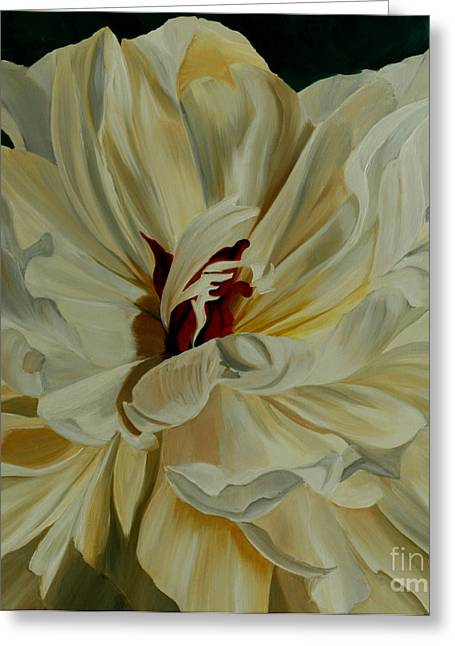 White Peony Greeting Card by Julie Pflanzer