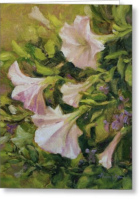 White Petunias Greeting Card by Tracie Thompson