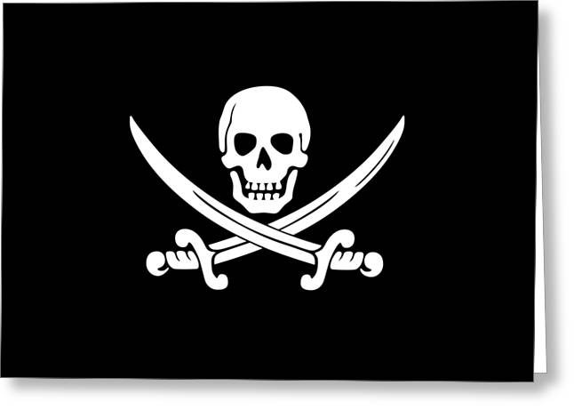 White Pirate Skull Greeting Card by Frederick Holiday