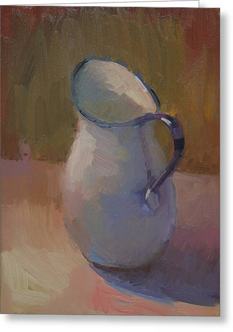 White Pitcher Greeting Card by Kathryn Townsend