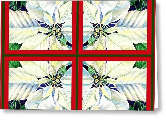 White Poinsettia Quartet Greeting Card by Irina Sztukowski