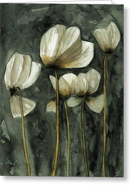 White Poppies Greeting Card by Ben Potter