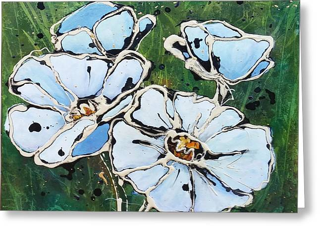 Greeting Card featuring the painting White Poppies by Phyllis Howard