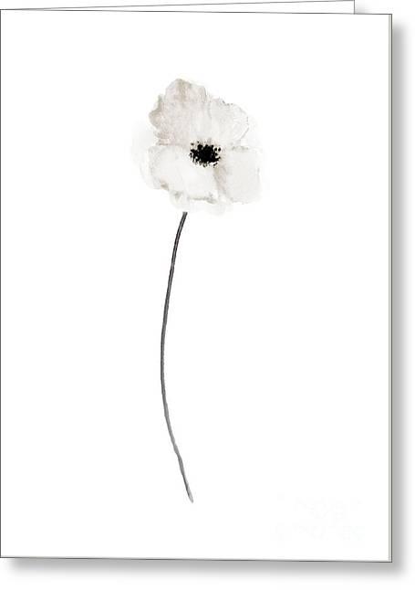 White Poppy Abstract Art Print Woman Anniversary Gift Idea  Greeting Card by Joanna Szmerdt