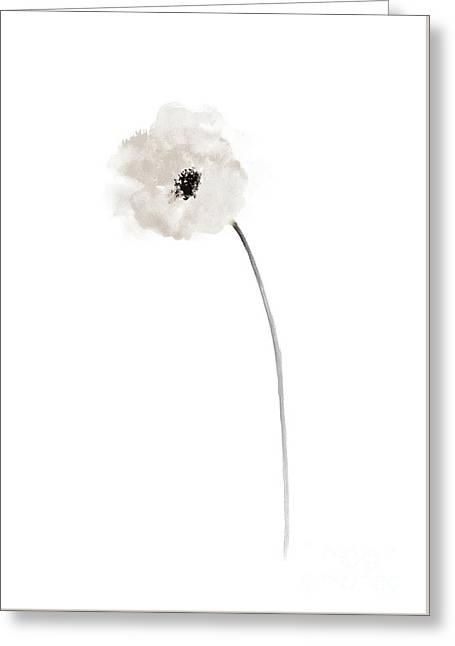 White Poppy Bride Wedding Gift Ideas, Minimalist Floral Illustration Greeting Card by Joanna Szmerdt