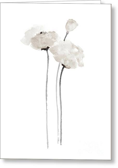White Poppy Minimalist Wall Decoration, Floral Painting  Greeting Card by Joanna Szmerdt