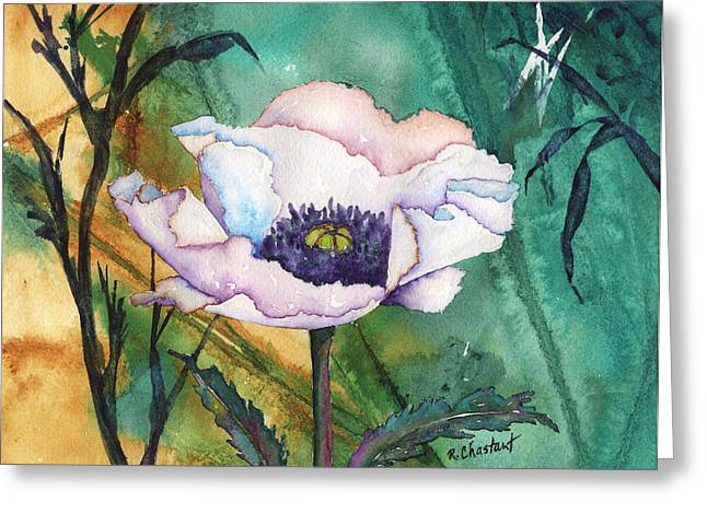White Poppy On Teal Greeting Card by Renee Chastant