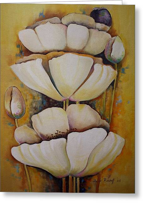 White Poppys Greeting Card by Ansie Boshoff