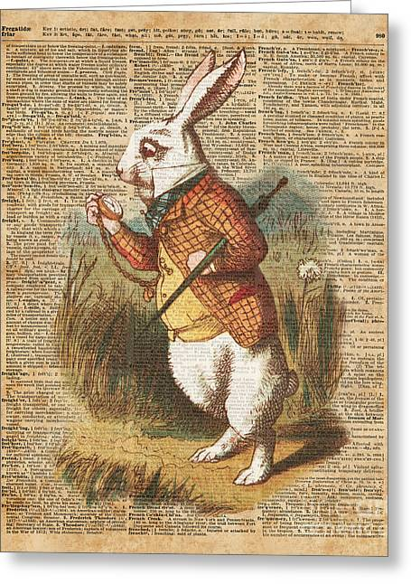 White Rabbit Alice In Wonderland Vintage Art Greeting Card by Jacob Kuch