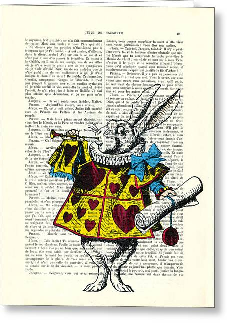 White Rabbit Blows His Trumpet Three Times Alice In Wondreland Greeting Card by Madame Memento