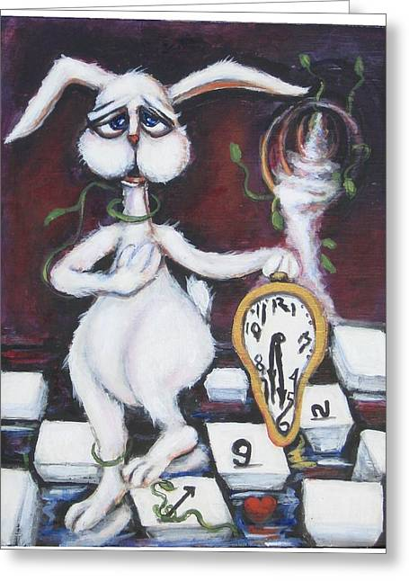 White Rabbit Greeting Card by Cathi Doherty