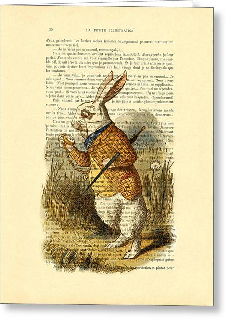 White Rabbit, I Am Late, I Am Late, For A Very Important Date Greeting Card by Madame Memento