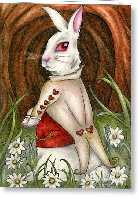 White Rabbit On Way To Wonderland Greeting Card